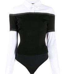 elisabetta franchi poplin shirt bodysuit - black