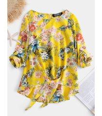 yoins blusa amarilla con nudo ajustable y estampado tropical redondo cuello