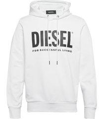 s-gir-hood-division-logo sweat-shir hoodie trui wit diesel men