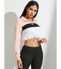 yoins rosa patchwork zip diseño sudadera con cuello con cordón y cintura