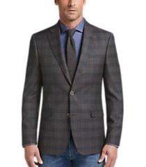 tommy hilfiger brown & blue windowpane plaid slim fit sport coat