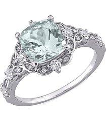 sonatina women's 14k white gold, aquamarine, white sapphire & diamond ring/size 5 - size 5