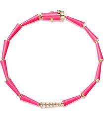 lola linked pink enamel and diamond bracelet