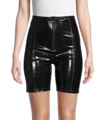lisa marie fernandez women's faux leather biker shorts - black - size xxs