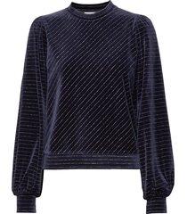 velvet lurex sweat-shirt trui blauw ganni