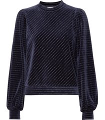 velvet lurex sweat-shirt trui blauw ganni