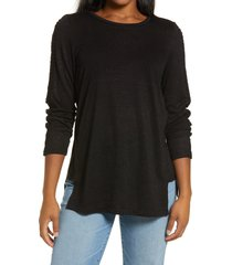 bobeau lace trim top, size small in black at nordstrom