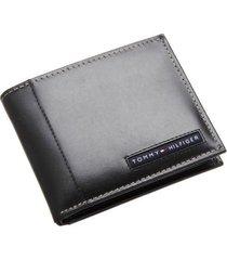 tommy hilfiger men's leather credit card documents wallet bifold black 5675-01