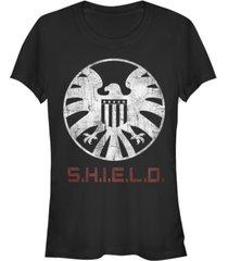 fifth sun marvel women's agents of shield distressed logo short sleeve tee shirt
