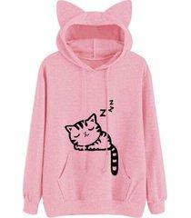 drawstring sleeping cat pattern pullover hoodie