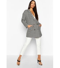 dogtooth double breasted wool look coat, black