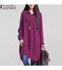 zanzea moda otoño venta mujeres blusas de manga larga dobladillo irregular de las camisas de algodón ocasionales sólidos blusas suelta más el tamaño de las tapas -rojo