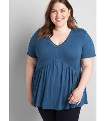 lane bryant women's babydoll max swing tee with neckline trim legion blue
