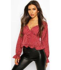 geweven bloemenprint blouse met korset details, berry