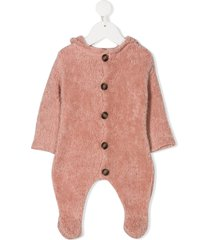 message in the bottle knitted hooded romper - pink