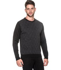 suéter passion tricot slim jacar preto - kanui