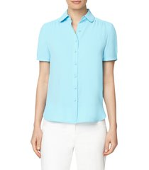 anne klein peter pan collar blouse, size large in siren blue at nordstrom