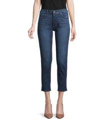 7 for all mankind women's josefina boyfriend cropped jeans - light blue - size 23 (00)