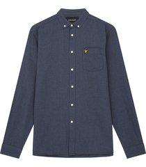 lyle and scott lw1302vtr lyle&scott regular fit light weight oxford shirt, w494 slate blue/ dark navy