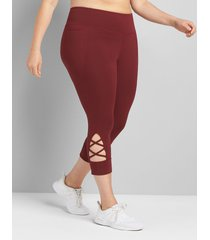 lane bryant women's livi high-rise livi soft capri legging with pockets - hem detail 34/36 zinfandel