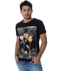 camiseta osmoze flower 40 dupla face 110112743 preto