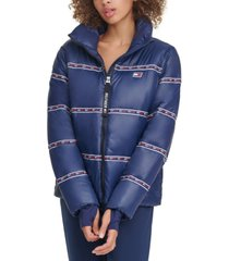 tommy hilfiger sport graphic thumbhole-cuff puffer jacket
