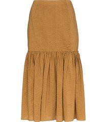marysia seersucker midi skirt - brown