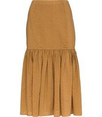 marysia seersucker midi skirt - brown
