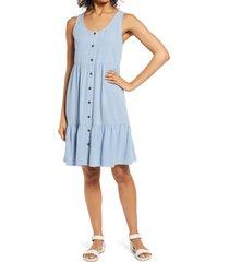 women's caslon front button tiered tank dress, size large - blue