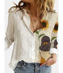 camicetta patchwork con colletto rovesciato manica lunga stampata girasole per donna