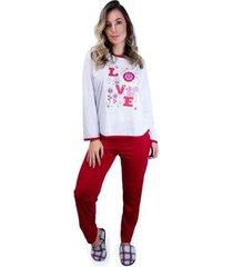 pijama mvb modas longo inverno feminino