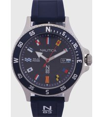 reloj azul navy-plateado-multicolor nautica