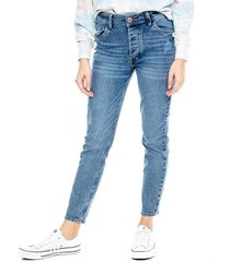 high waist skinny jeans con apariencia vintage color blue