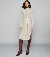 reiss april - textured knitted midi dress in grey, womens, size xl