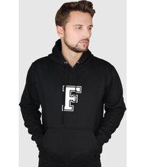 blusa moletom flanelado fechado suffix moleton preto capuz e bolso estampa letra f - preto - masculino - poliã©ster - dafiti