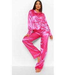 satijnen valentijns hartjes pyjama set met knopen, hot pink