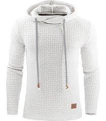 sudadera con capucha en color liso de manga larga para hombres-blanco