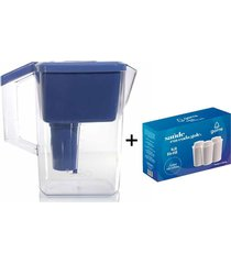 jarra purificadora água alcalina com filtro cerâmica e minerais azul + 3 filtros
