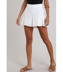 short feminino amplo com lurex off white