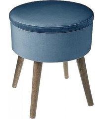 stołek welurowy pufa ze schowkiem blue