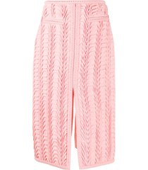 marco de vincenzo textured front-slit pencil skirt - pink