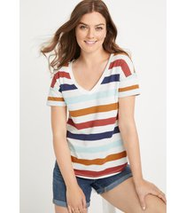 maurices womens 24/7 multi striped drop shoulder tee