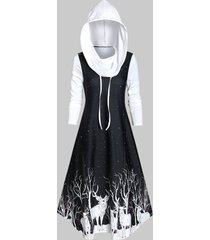 hooded deer print a line long sleeve dress