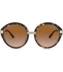 tory burch round frame sunglasses with metal arm - brown