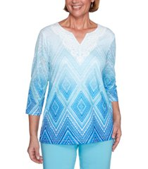 alfred dunner women's missy sea you there diamond lace ombre top