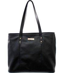 bolsa maria verônica sacola de ombro couro preta