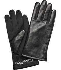 calvin klein crinkle faux leather gloves