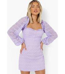broderie anglais mini jurk met hartvormige hals, lilac