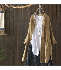 zanzea collar del soporte ocasional de la camisa larga de las tapas de las mujeres asimétrica del dobladillo de la blusa de split plus -marrón