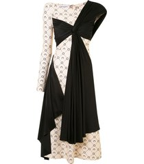 marine serre draped asymmetric dress - black